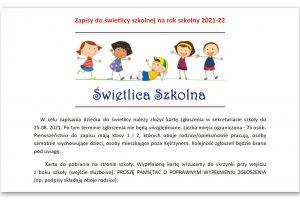Zapisy do świetlicy szkolnej na rok szkolny 2021-22
